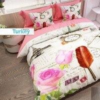他 6 個クリーム赤羽ピンクバラ書き込みレトロ 3D プリント綿サテンダブル布団カバー寝具セット枕ケースベッドシート