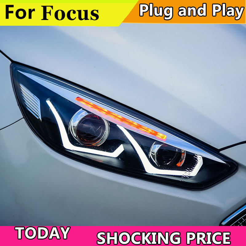 Car Styling Head Lamp case for Ford Focus 2015 2018 Headlights LED Headlight DRL Lens Double