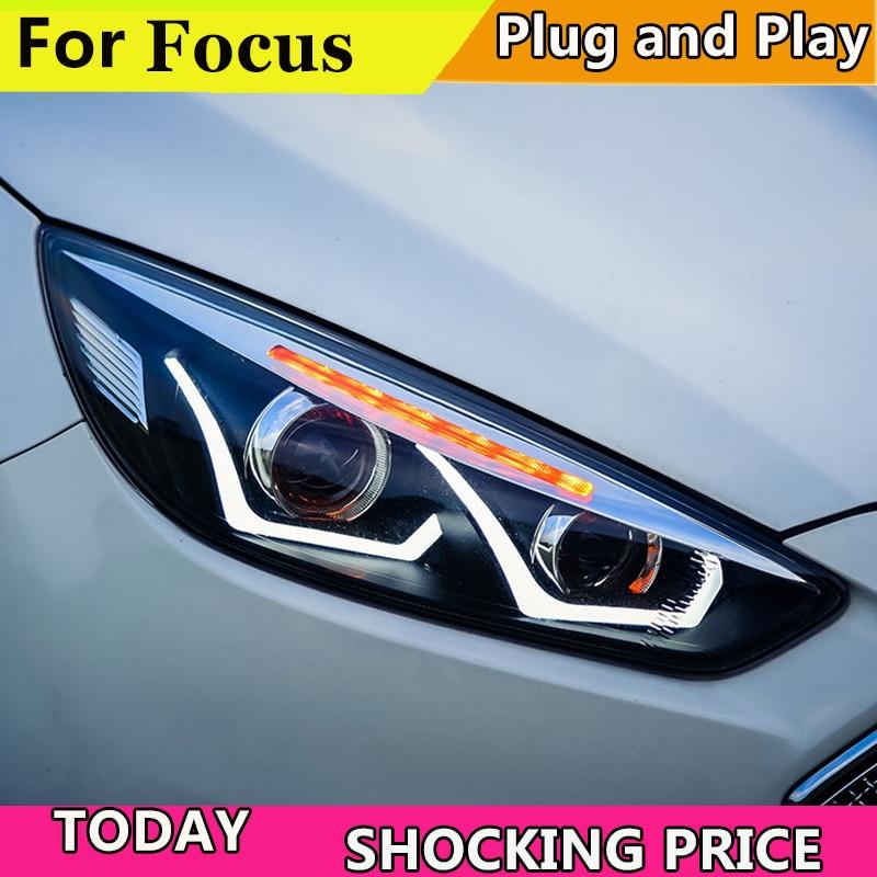 Car Styling Head Lamp case for Ford Focus 2015-2018 Headlights LED Headlight DRL Lens Double Beam Bi-Xenon HID car Accessories car styling head lamp for hyundai ix25 headlights 2015 creta led headlight drl daytime running light bi xenon hid accessories