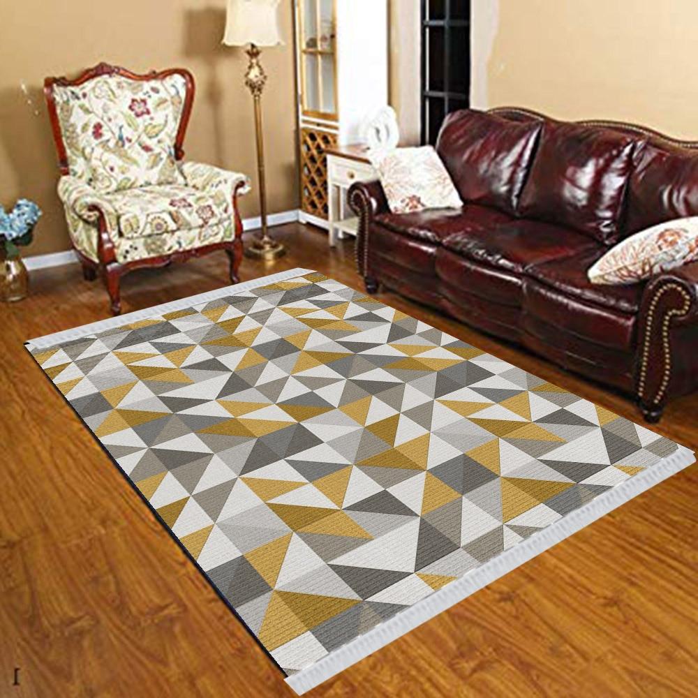 Else Gray Yellow Brown Triangles Modern Geometric 3d Print Anti Slip Kilim Washable Decorative Kilim Tassel Rug Bohemian Carpet