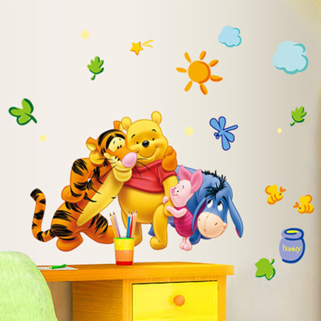 New Arrival  The Pooh Cartoon Wall Stickers For Kids Rooms