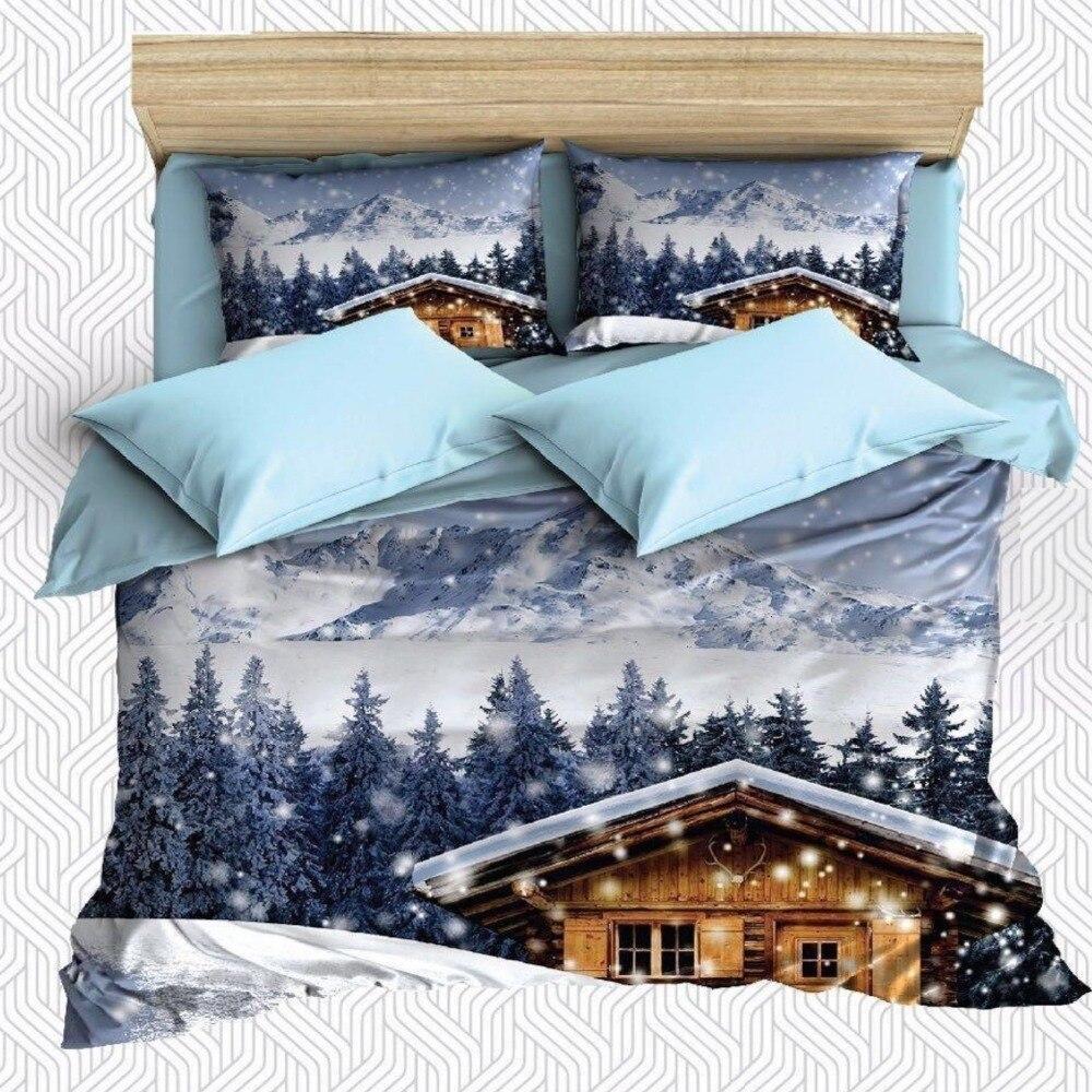 Else 6 Piece Blue White Snow Winter House Mountain 3D Print Cotton Satin Double Duvet Cover Bedding Set Pillow Case Bed Sheet