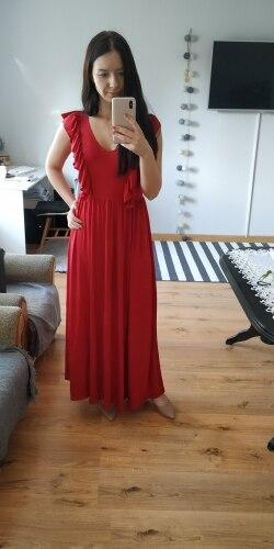Sexy Pleated Red Long Women Dress Ruffles O Neck Split Maxi Summer Dress Elegant Female Club Vestidos De Fiesta photo review