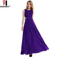 HAGEOFLY Women Summer Lace Flower Pleated Dress 2018 Fit Flare Big Swing Purple Chiffon Dresses Long