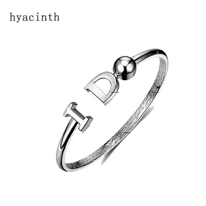 Hyacinth 100% 999 Sterling Silver YES I DO Smooth Round Open Bracelets & Bangles For Women Minimalism Lady Fashion Jewellery подвеска saturday fook jewellery 999 s990