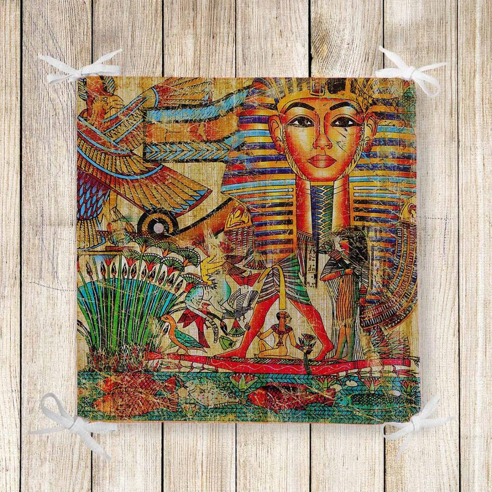 Else Orange Brown Egypt Ethnic Retro 3d Print Chair Pad Seat Cushion Soft Memory Foam Full Lenght Ties Non Slip Washable Zipper