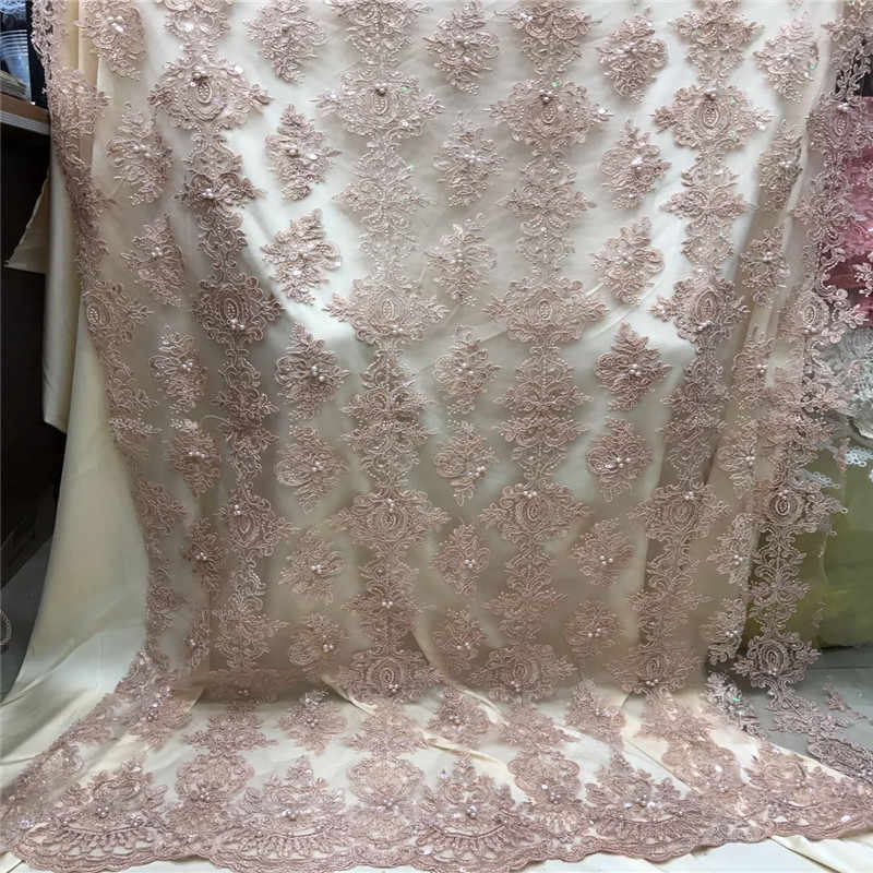 2018 Latest Designs African Lace Fabric French Net Lace Fabric With Sequins High Quality African Beaded Tulle Fabric F1061-1