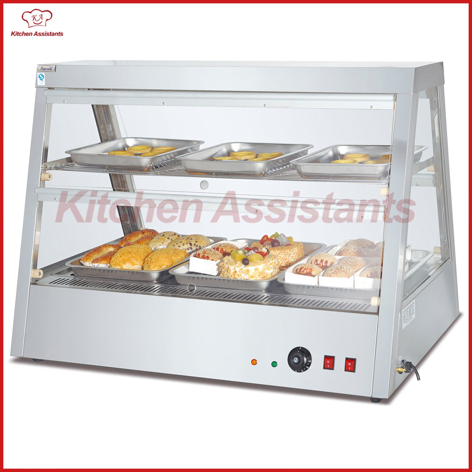 DH2x4 commercial electric stainless steel warmer glass display showcase