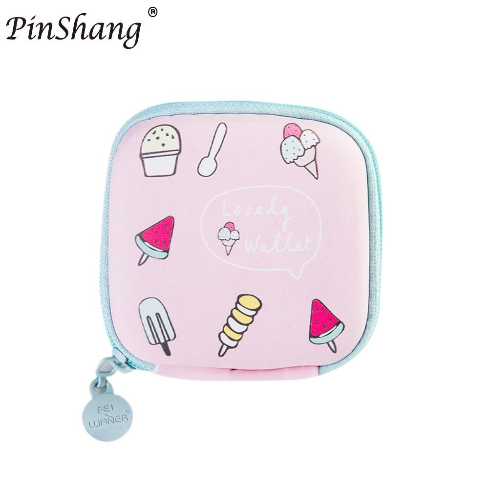 PinShang Money and Key Wallet Mini Candy Colored Girls Coin Bags Women Earphone Key Wallet Cute PU Square Storage good quality cute colored beads key pendant design bracelet for women