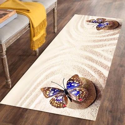 Else Beach Brown Sand Stones Blue Butterfly 3d Print Non Slip Microfiber Washable Long Runner Mat Floor Mat Rugs Hallway Carpets