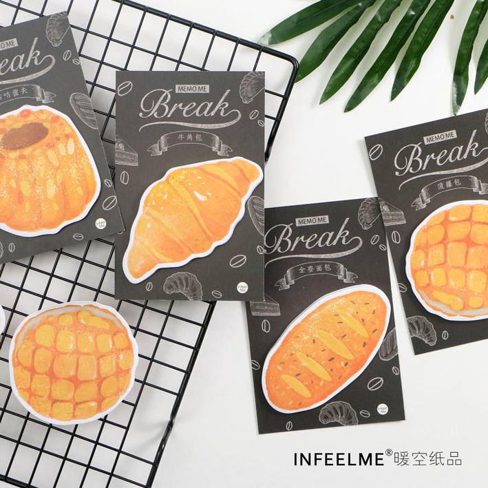 12 sets/1 lot Creative Bread Of Happiness Memo Pad Sticky Notes Escolar Papelaria School Supply Bookmark Post it Label