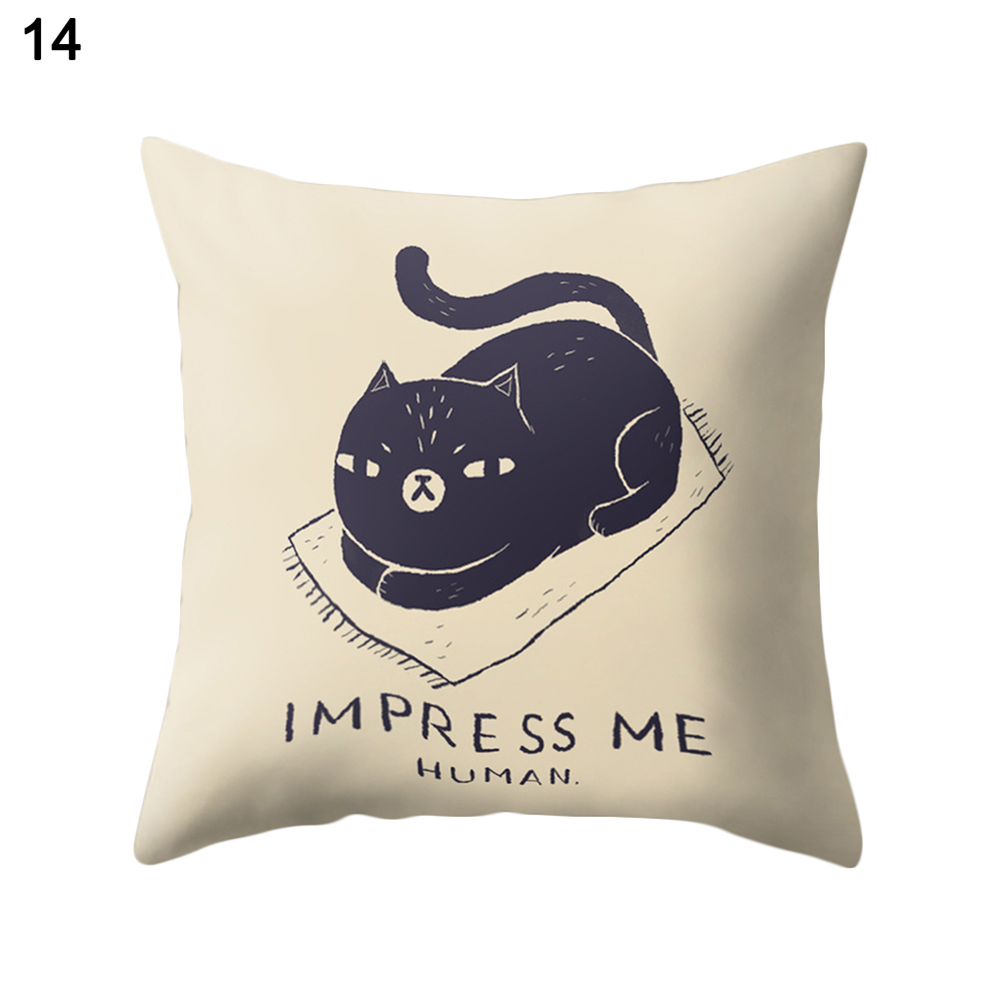 Cute Cartoon Cat Print Soft Throw Pillow Case Home Office