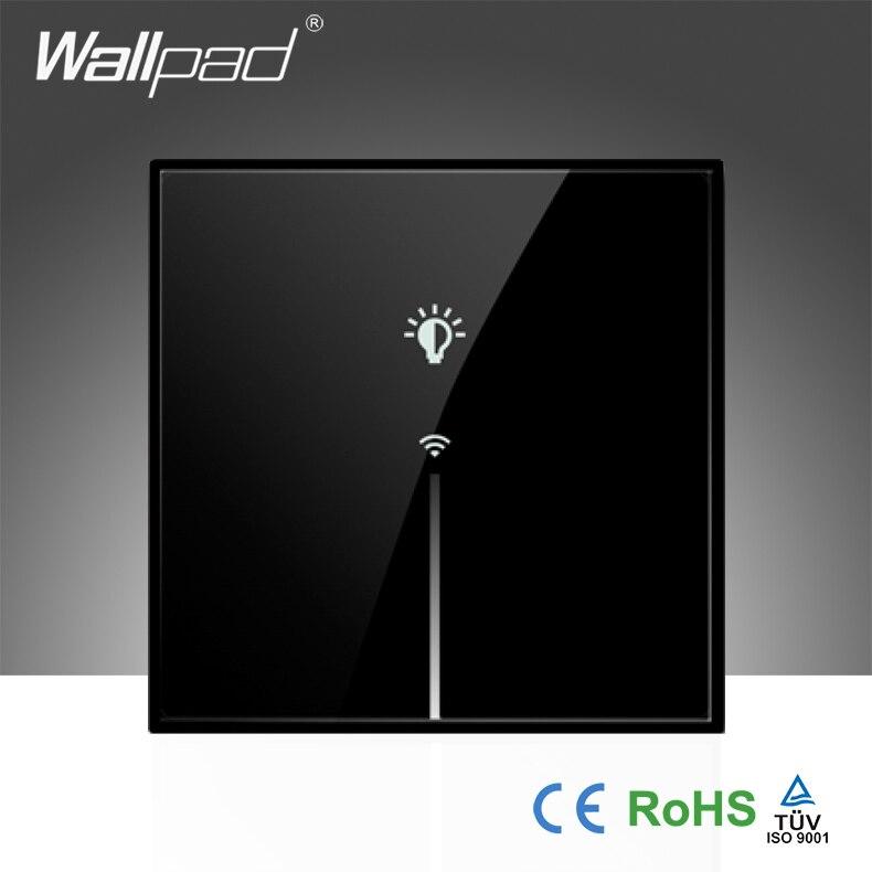 Wallpad LED verre de luxe noir 110 ~ 250 V EU 1 Gang sans fil Wifi télécommande LED WIFI tactile interrupteur mural, livraison gratuite