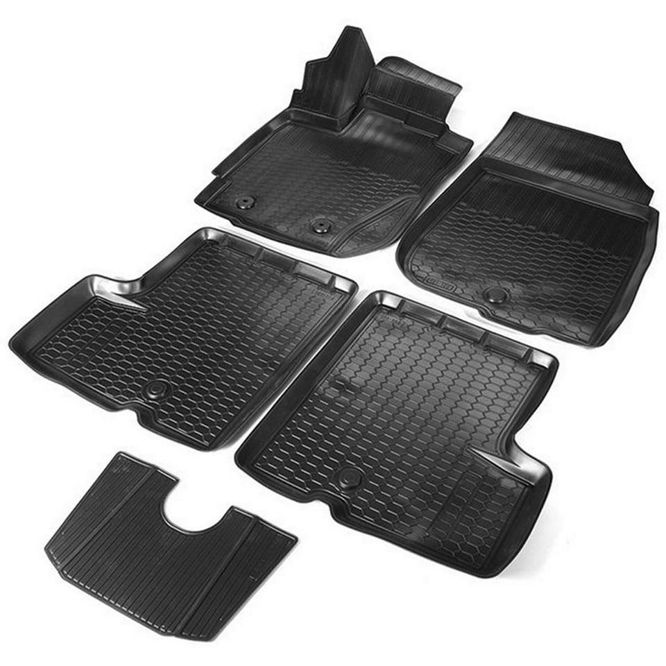 3D floor mats into saloon for Nissan Terrano 2017-2019 5 pcs/set (Rival 14701007) for nissan terrano 4wd 2014 2019 rubber floor mats into saloon 5 pcs set rival 64701002