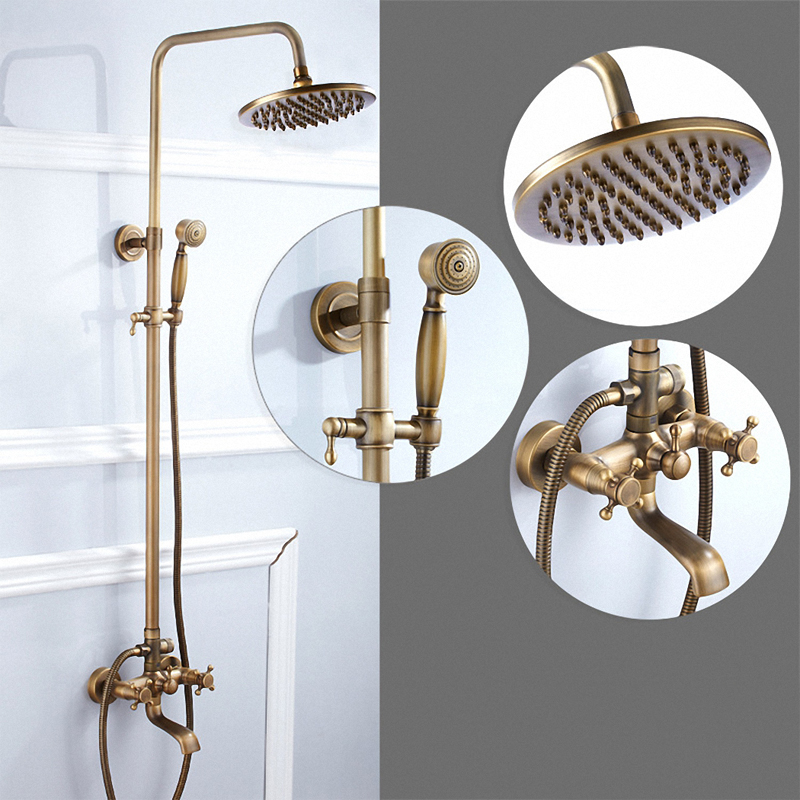 Bathroom Stiles Exposed Pipe Shower System with Rainfall Shower Head Hand Shower Antique Brass Finishes Solid