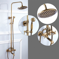 Bathroom Stiles Exposed Pipe Shower System with Rainfall Shower Head & Hand Shower, Antique Brass Finishes, Solid Brass Material