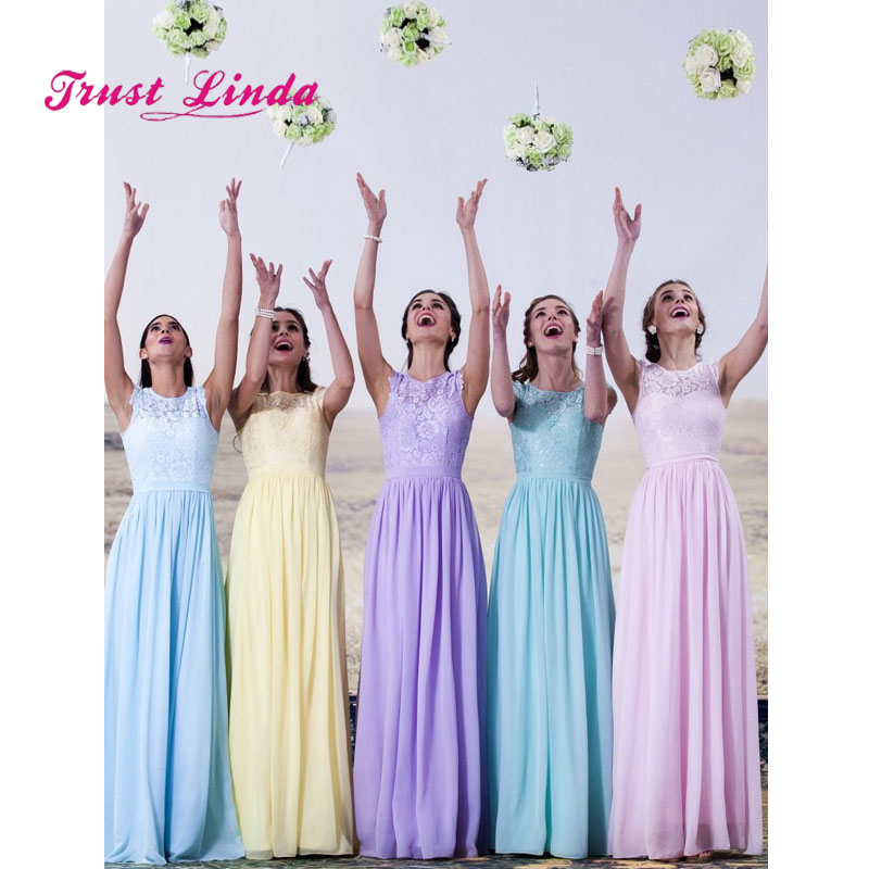 Modest Lace Bridesmaids Dresses For Women Floor Length O Neck A Line Bridesmaid Dresses Long Bruidsmeisjes Jurk Women