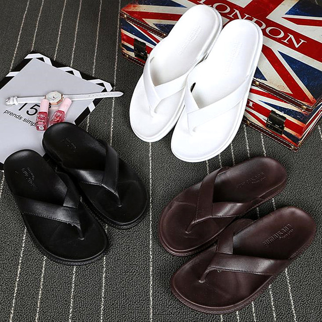 f8242bdce9eee 2018 large size women s slippers new summer fashion men s slippers non-slip  solid color beach flip flops BLACK BROWN WHITE 36-44