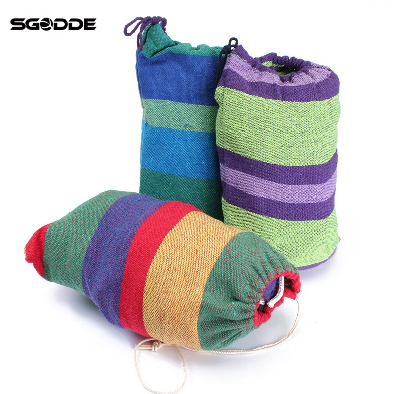 SGODDE Portable Single Hammock Outdoor Swing Camping Fabric Hanging Canvas Bed W/Rope Thickening Widened Single single person hammock canvas thicken camping indoor and outdoor travel furniture swing go to bed colorful easy to fold carry