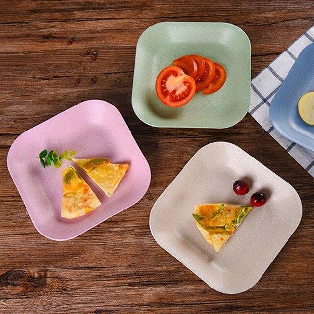 1PC Kitchen Supplies Modern Colorful Plastic Fruit Plate Home Decor Eco  Friendly Square Dish Plates
