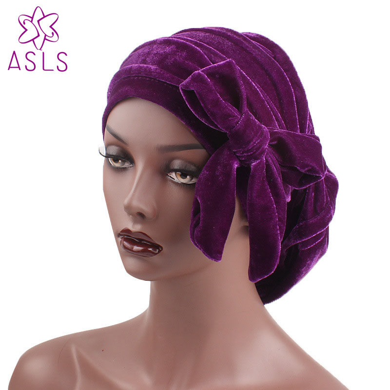 Apparel Accessories Lovely 10pcs/lot New Fashion Women Velvet Ruffle Turban Dreadlock Sleeping Cap Slouch Cap Hair Loss Bonnet Tube Cap Hair Accessories