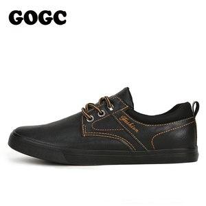 Image 3 - GOGC zapatos informales de cuero para hombre, zapatillas masculinas de estilo mocasín de cuero, zapatos de lona de estilo Casual, 2020
