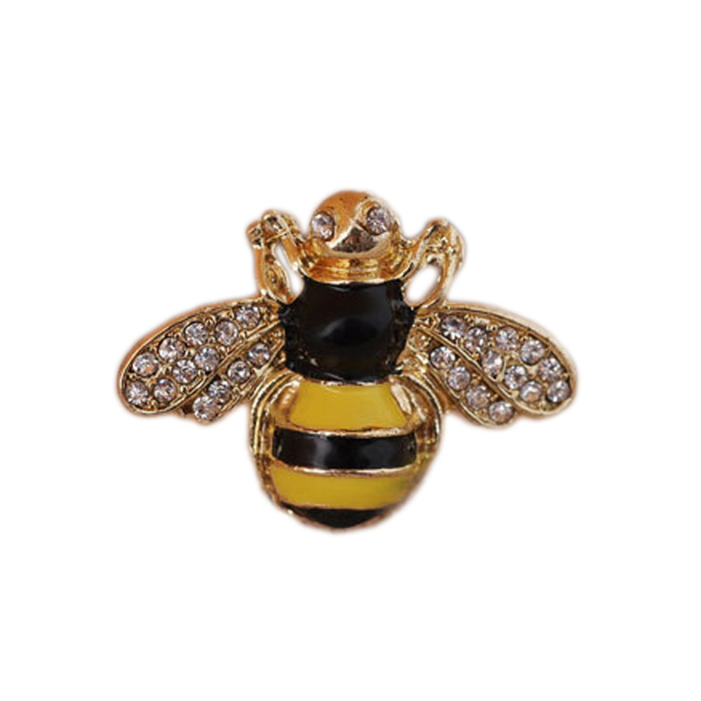 Women Fashion Jewelry Accessories Retro Drip Flashing Rhinestone 3D Bee Ring ...