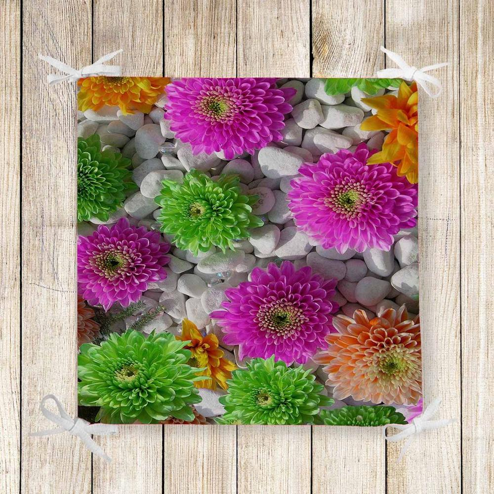 Else Green Pink Flowers Pebble Stones 3d Print Chair Pad Seat Cushion Soft Memory Foam Full Lenght Ties Non Slip Washable Zipper