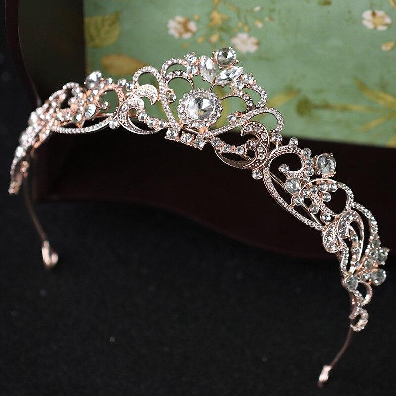 8663dfb38d5f Deslumbrantes Tiaras de diamantes de imitación coronas joyería para mujer  diademas para desfile ...
