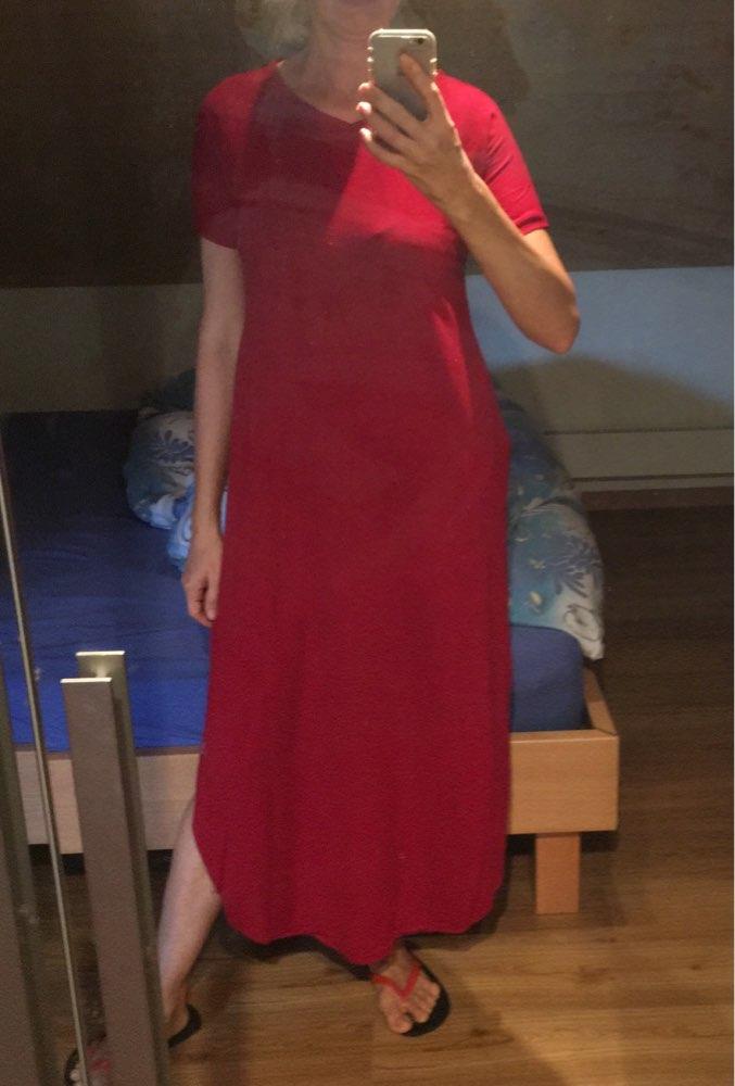 Summer Women Short Sleeve V Neck Casual Slit Hem Solid Party Beach Maxi Long Dress Brief Black Vestido Plus Size photo review