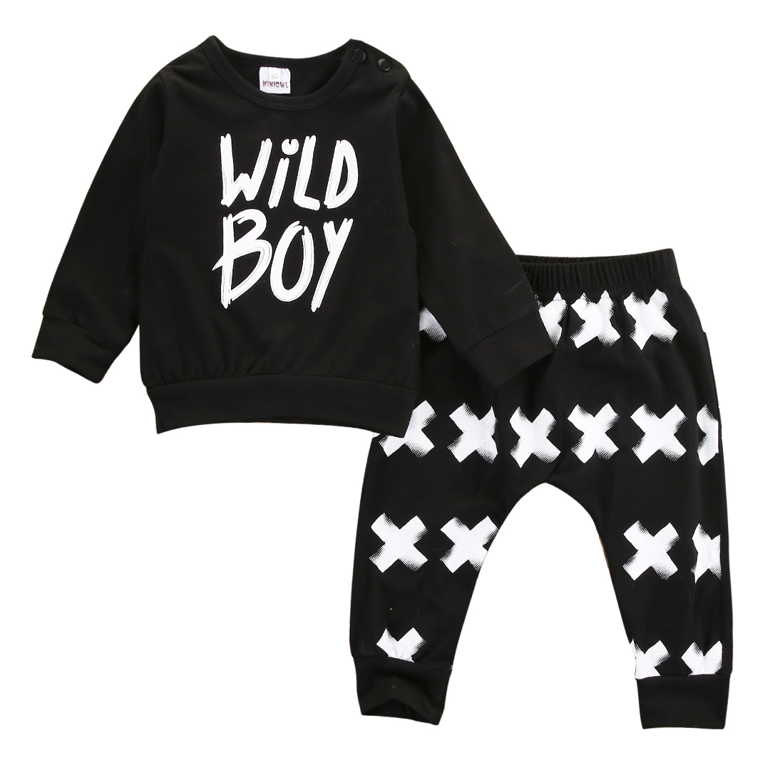 2PCs Toddler Newborn Baby Boys Kids Long Sleeves Letter T-Shirt Tops+ Long Pants Clothes Outfit Set