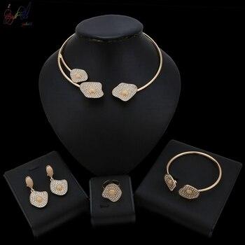 577f054e1285 Dubai oro color joyería nigeriana boda Africana cuentas de cristal joyería  nupcial conjunto Rhinestone etíope joyería parure