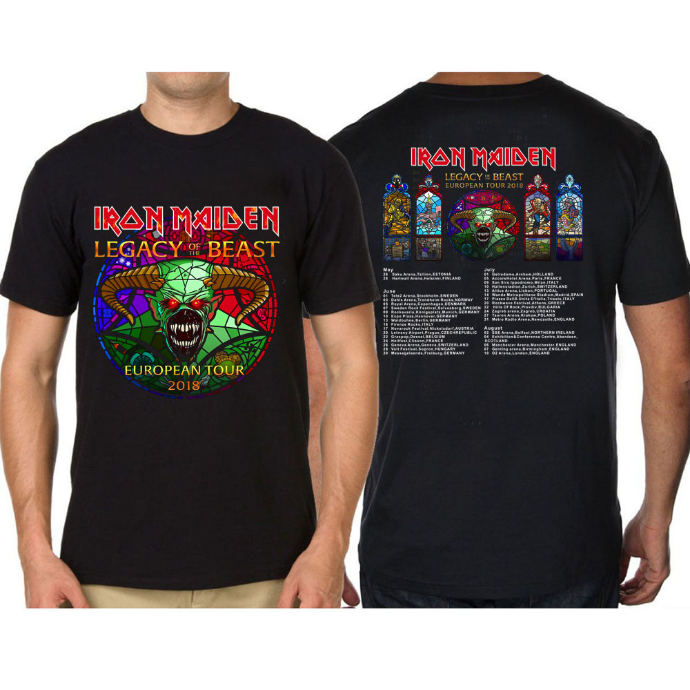 Iron Maiden T Shirt Legacy of The Beast European Tour 2018 Official Mens Black