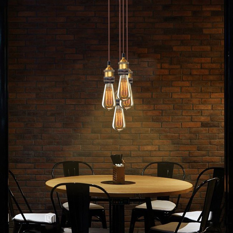 Smuxi Vintage 4 Heads Modern Retro Industrial Pendant Lamp Edison E27 Light Lamp Cluster For Bar