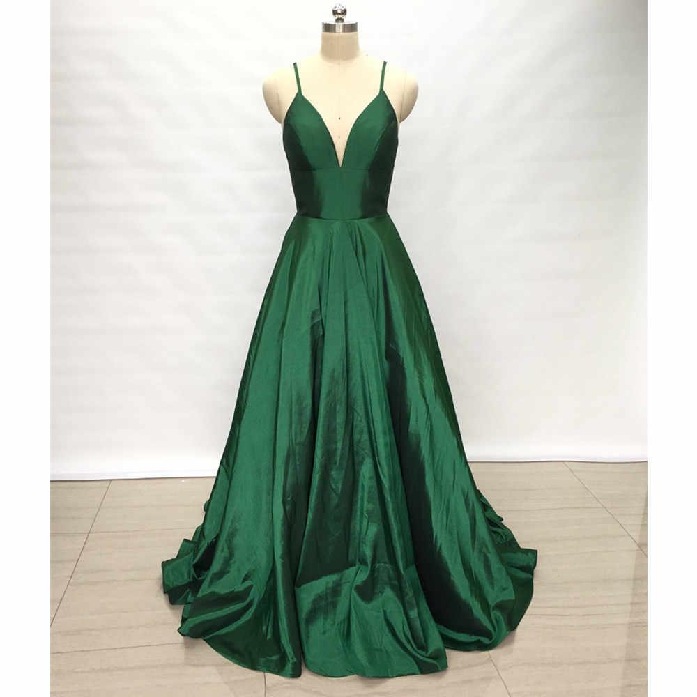 4b3d719b308f ... Baijinbai Emerald Green Taffeta Long Prom Dresses A-line Elegant  Spaghetti Straps Floor-length ...