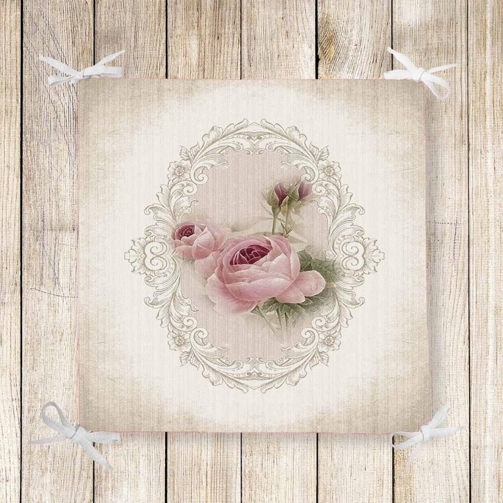 Else Brown Gray Pink Roses Flowers 3d Print Chair Pad Seat Cushion Soft Memory Foam Full Lenght Ties Non Slip Washable Zipper