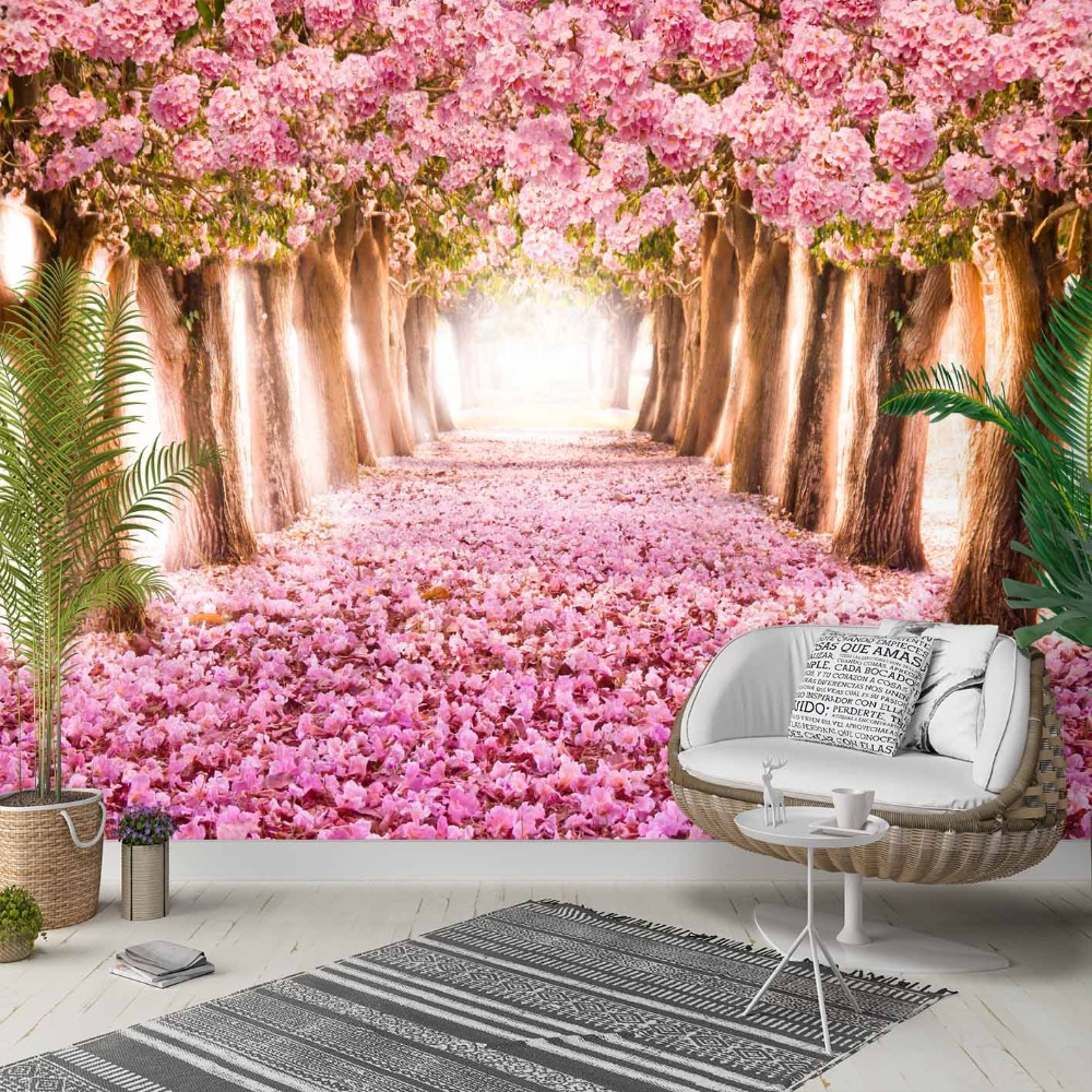 Else Pink Trees Rose Leaves Love Way Road 3d Photo Cleanable Fabric Mural Home Decor Living Room Bedroom Background Wallpaper