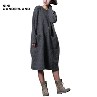 New Autumn Winter Women Loose Jacquard Cotton Long Sleeved Dress Large Size Mori Girl Style Casual