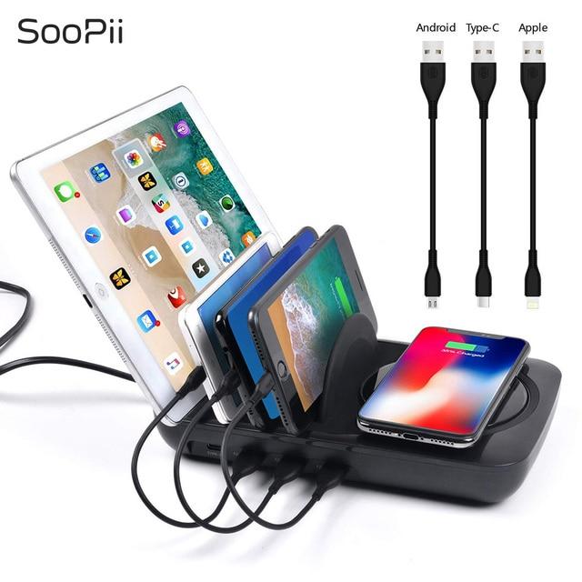SooPii Máy Tính Để Bàn 4 Cổng Sạc trạm chủ Phổ USB điện thoại di động sạc trạm sạc Cho iPhone iPad Samsung Tablet