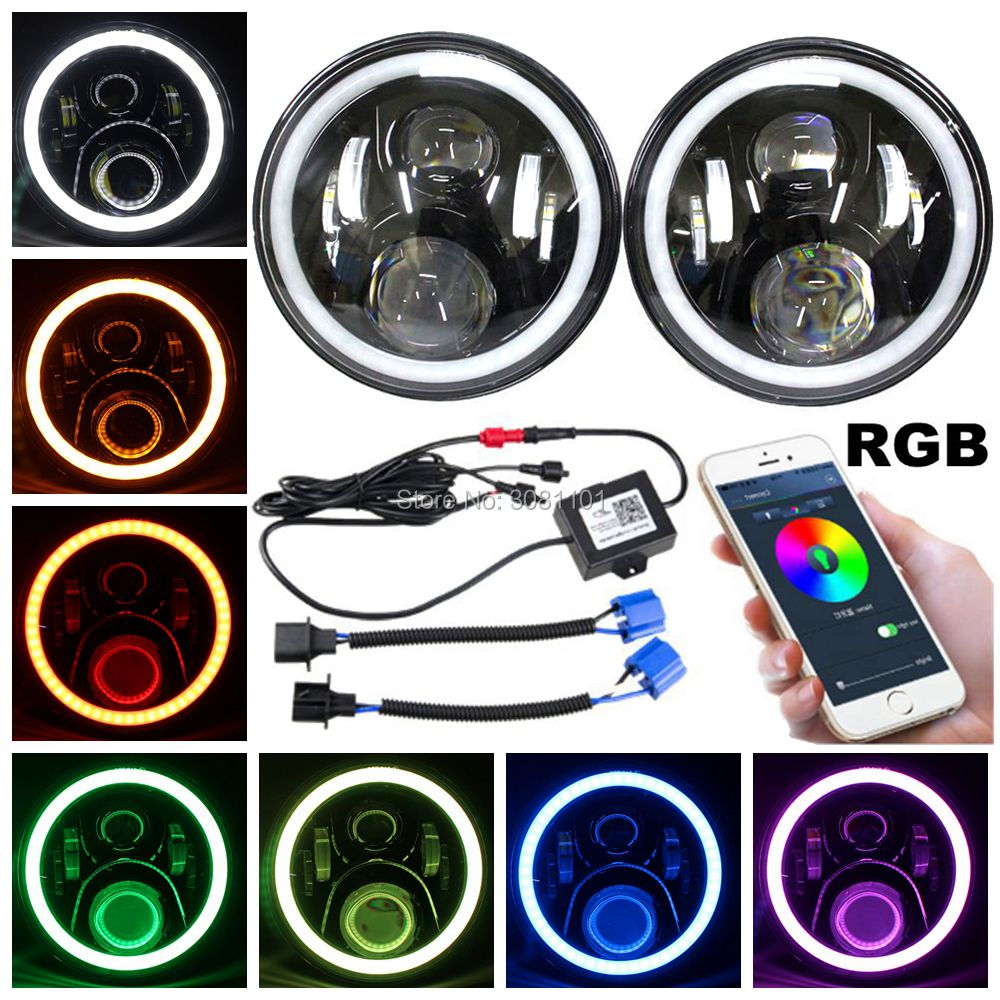 Pair7Offroad LED Headlights 45W Round Projector RGB with Bluetooth Remote H4 for 2007-2014 Jeep Wrangler Unlimited JKU 4 Door амортизаторы bilstein в6 offroad