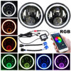 Pair 7 Inch 45W Round Lens H4 LED Headlights For Jeep Wrangler JK Harley Black