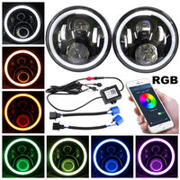 Pair 7 Inch 45W Round Lens H4 LED Headlights For Jeep Wrangler JK Harley Black
