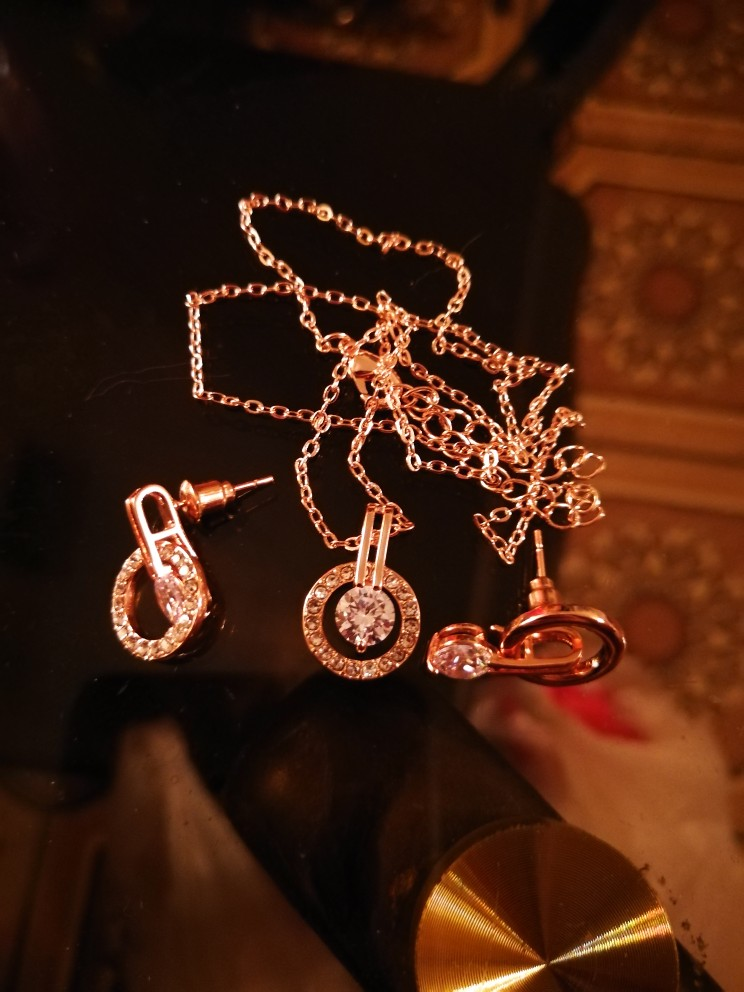 LZESHINE New Big Sale Wedding Jewelry Sets for Women Rose Gold Color Necklace and Earring Set Bijouterie Aretes ST0017-A