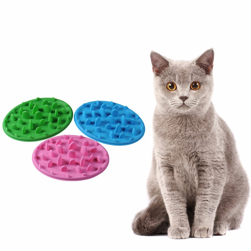 Slow Feeder For Dogs Eating Silicone Anti-Shock Cat Anti Gulping Choke Pet Plate Cat Interactive Feeder Cat Food Puzzle E