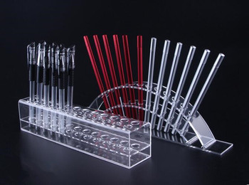 Acrylic Pen Holder Cosmetic Brush Eyeshadow Pencil color Pen Lipstick Display Stand Rack Cosmet Support Holder Crystal pen shelf