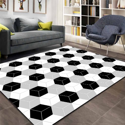 Autre gris noir blanc boîtes Cubes géométrique impression 3d antidérapant microfibre salon décoratif moderne lavable zone tapis