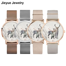 Фотография Color-Changing Marble Quartz Reindeer Watch Mesh Belt Women Christmas Watch