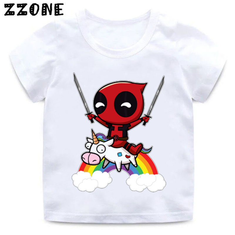 Cartoon Deadpool Cute Unicorn Print Funny Baby T shirt Boys and Girls Summer Short Sleeve Clothes Kid White Soft T-shirt,HKP2237 white floral and letter print cape sleeve basic t shirt