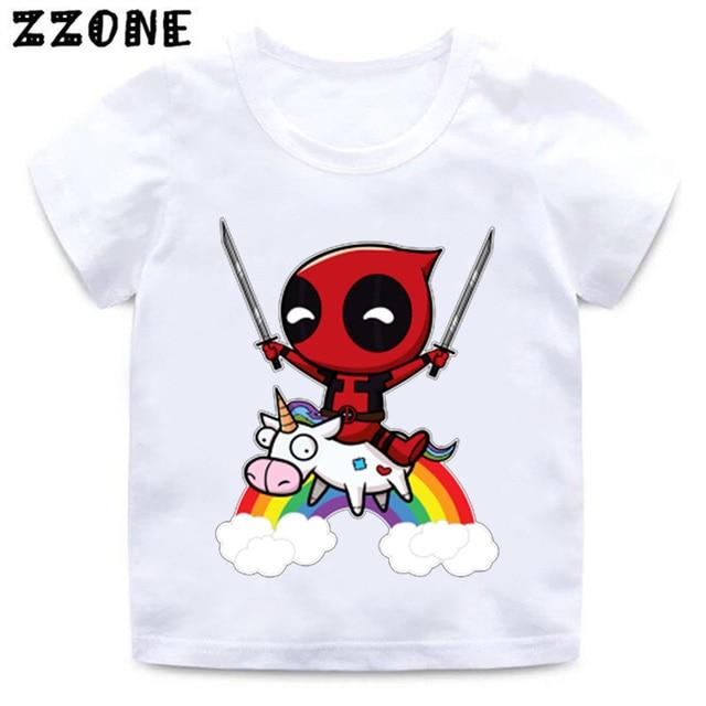 17c0466f Cartoon Deadpool Cute Unicorn Print Funny Baby T shirt Boys and Girls  Summer Short Sleeve Clothes Kid White Soft T-shirt,HKP2237