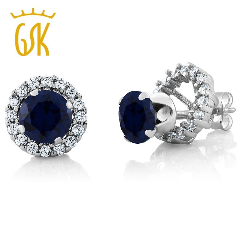 GemStoneKing 2 00 Ct Round Natural Blue Sapphire Earrings For Women 925 Sterling Silver Gemstone Stud